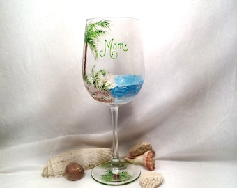 Reserved for Kathy Palm trees beach wine glass hand painted for mom and personalized gifts for friends and family