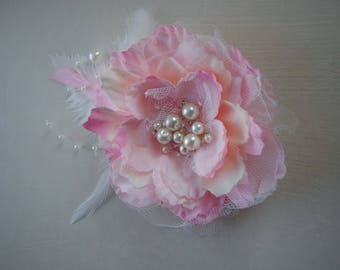 Silk flower brooch,Pink fabric flower with feather and pearls, Bridal or Bridesmaids flower brooch, Wedding flower, pin and hair clips
