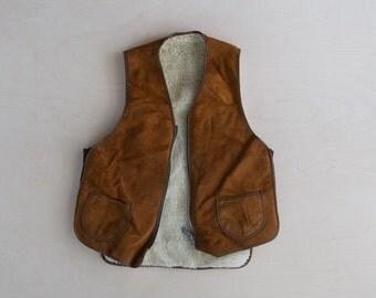 vintage suede shearling style vest