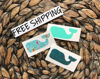 Whale with or without Personalization - Lilly Pulitzer Inspired - Glitter - Polka Dot - Chevron FREE SHIPPING