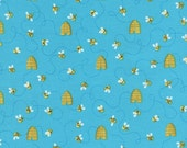 Honey Bee Fabric, Bees, Blue Fabric, Bee Fabric, Honey Bees by Timeless Treasures, 01082A