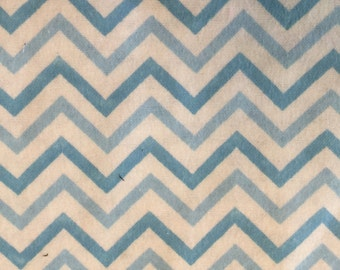 Chevron Blue and White Flannel Print 1.5yds