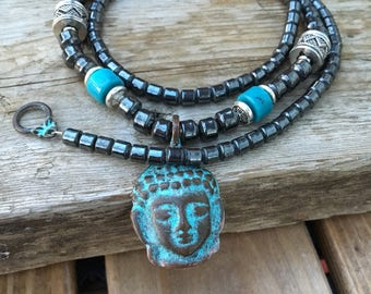 Buddha Hematite Necklace Man or Woman Yoga Necklace Rustic Buddha Necklace for Men.