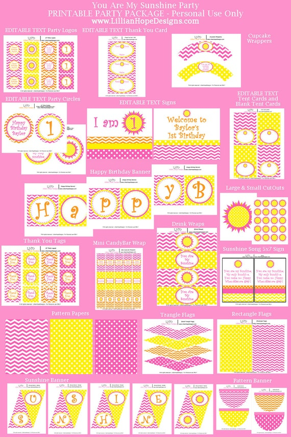 You Are My Sunshine Birthday Party - PRINTABLE Instant Download Package - Editable Text - Sunshine First Birthday Party - Party Decorations