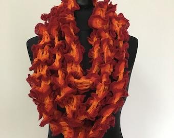 Crochet long orange scarf