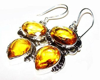 Citrine Triple AAA Dangle Earrings Signed 925 Sterling Silver 21 Cts Wire Hooks 1 3/4' NOS Vintage