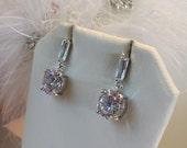 Wedding Earrings, Bridal CZ Earrings, Baguette Posted Earrings, Bridesmaids, Gift for Her, AA+ Grade Cubic Zirconia Earrings