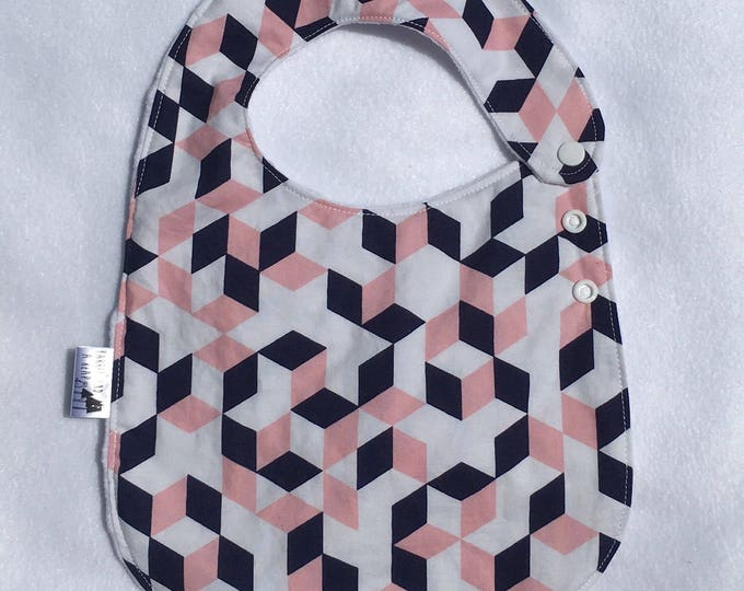 Geometric Adjustable Side Snap Bib with Minky Back