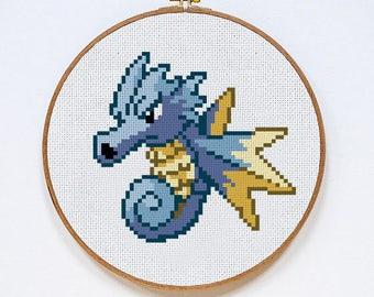 Seadra Pokémon cross stitch pattern, Instant Download, PDF