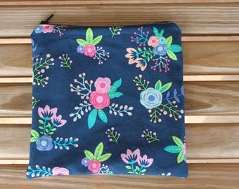Reusable Sandwich Bag, Flowers - Zipper Sandwich Bag, Reusable Pouch, Snack Bag, Eco-Friendly Bag