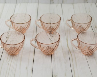 6 Vintage Arcoroc France Pink Tea Cups Glasses