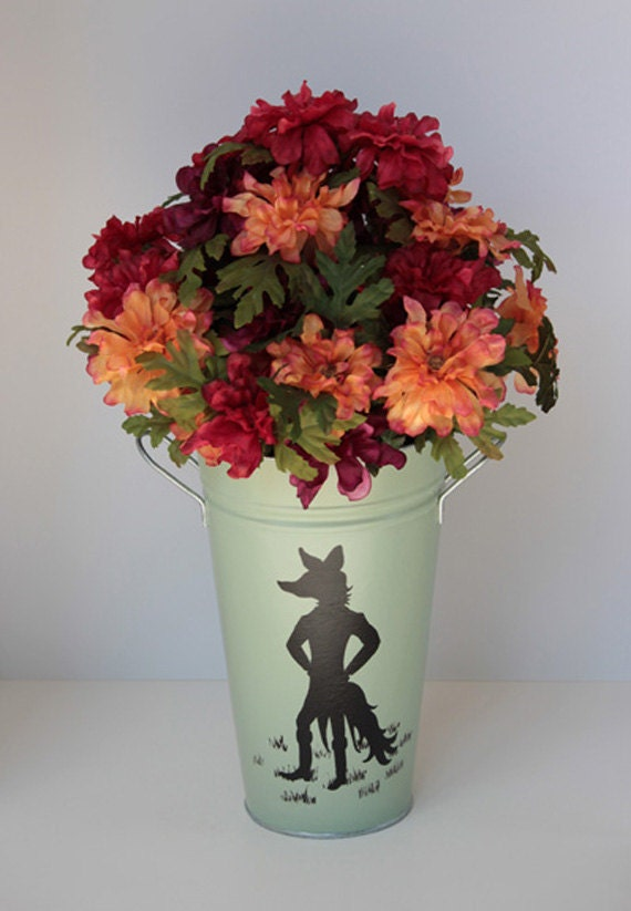Hand painted metal flower bucket, vase, equestrian art, fox hunting, Sly Fox, hunt horn hunt whip, fox hunting art, silhouettes, mint green