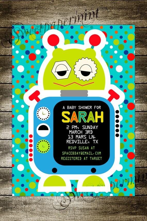 robot birthday party invitation card space cadet customizable