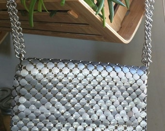 VINTAGE WHITING & DAVIS Silver Octagonal Mesh Bag with Silk Lining and Double Chin Strap Made in the U.S.A.