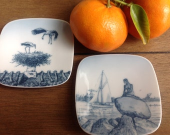Mini Collectors Plates Made in Demark The Stork and The Mermaid