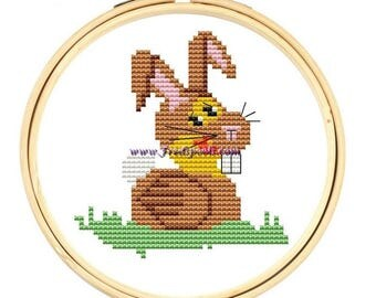 Cross Stitch Kit 'Duck in a Rabbit Suit' Easter Bunny Cross Stitch, Counted cross stitch