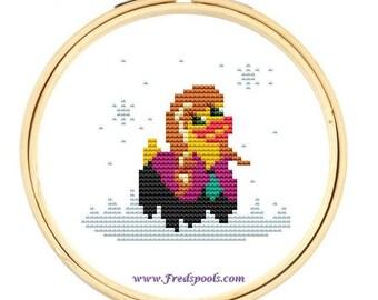 Modern Cross Stitch Kit, Ana, Rubber Duck,  Counted Cross Stitch, Frozen