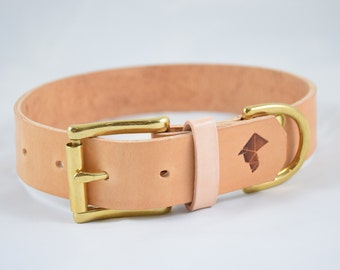 The Undomiel Collar: Natural Tan Leather Dog Collar