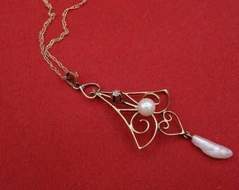 Antique Diamond, Pearl Lavalier, Victorian Gold , Pearl Pendant, Victorian Diamond Lavalier, Gold Pendant