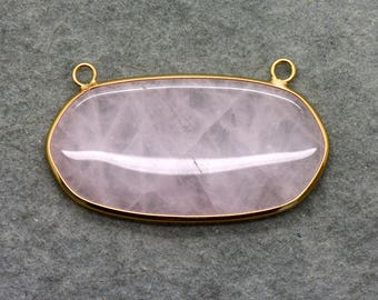 Rose Quartz Oval Link Pendant w/ 24K Gold Plated Brass Bezel - Geometric Boho Gemstone Connector Charm - Jewelry Making Supplies (AL058)