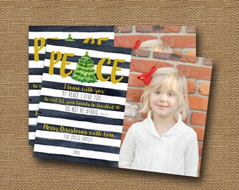 Christmas Peace Photo Card   Watercolor Peace Christmas Card   DIY PRINTABLE   Printable Christian, Scripture, Bible, Inspirational Card