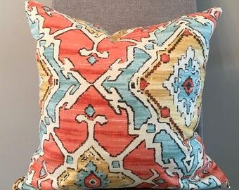 Orange, Aqua, Gold Geometric Pillow Covers in Sundance Tangerine