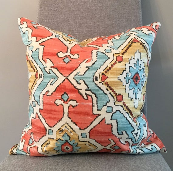Standard Throw Pillow Inserts : Orange Aqua Gold Geometric Pillow Covers in Sundance