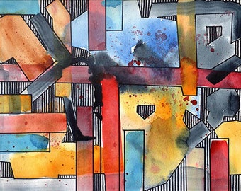 Modern art, 8x10 original watercolor illustration, contemporary, wall decor, home decor, art & collectibles, earthspalette