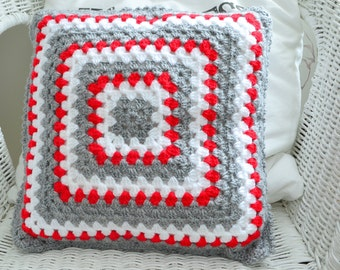 Gray white and red granny pillow, crochet sofa cushion, Christmas home decor, soft acrylic, 13 ""