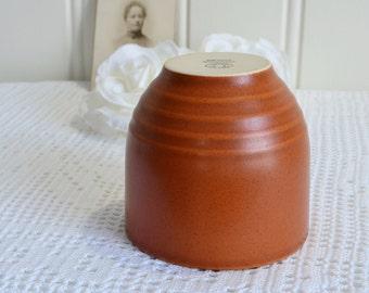 Stoneware coffee mug,  vintage Swedish Hoganas, terracotta glace, small storage jar