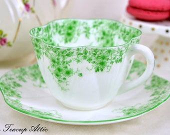 Rare Shelley Teacup And Saucer Set Dainty Green, English Teacup, Wedding Gift, Fluted Teacup,  ca. 1945-1966