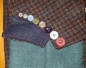JANET Special Order made from recycled tweed hounds tooth suit jackets. Teal,blue light weight fabric cross body purse, antique buttons
