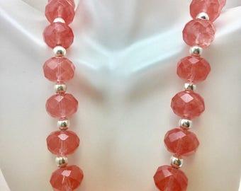 Cherry Quartz necklace-Pink Quartz necklace-Chunky pink Quartz Necklace-Pink necklace-Ruby Red Grapefruit colored quartz Necklace