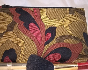 Earth Friendly~Green~Environmentally Friendly~Recycled~Cosmetic Bag~Chenille~Dupioni Silk Lined~Swoon~Red~Black~Gold