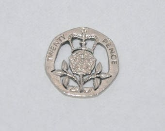 Crowned Tudor Rose. Cut coin pendant necklace charm 20 pence Recycled UK Coin cut jewelry All handmade