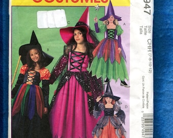 McCalls 4947 Fantasy Fairy Godmother & Witch Costumes Pattern Size 7 to 12 GIRLS UNCUT