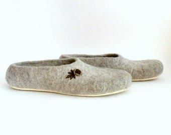 Women felted slippers Neutral - natural beige brown roses - made to order  - eco friendly - Mothers day gift - gift for her