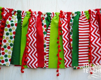Christmas Fabric Garland - FREE Shipping - Christmas Bunting - Christmas Garland - Christmas  - Christmas Party - Christmas Fabric Bunting