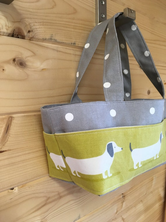 Handmade Fabric Storage Baskets : Craft caddy dachshund fabric organiser handmade storage