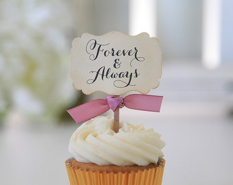 Wedding Cupcake Toppers / Forever and Always / Vintage / Shabby Chic / Anniversary / Table Decor / Candy Table Decor