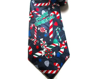 Christmas Necktie Candy Canes and Gumdrops Fratello Handmade