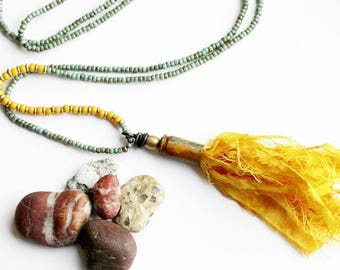 Tassel Necklace, Yellow Bead Necklace, Blue Beaded Jewelry, Recycled Repurposed, Long Bohemian Pendant Necklace, Seed Bead, Layering