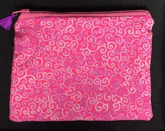 Cotton zipper pouch - Pink swirls