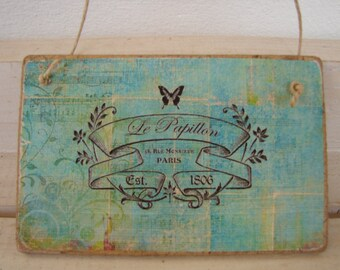 French shabby chic, Vintage wallpaper design with French address image on  wooden tag, dresser or door hanger