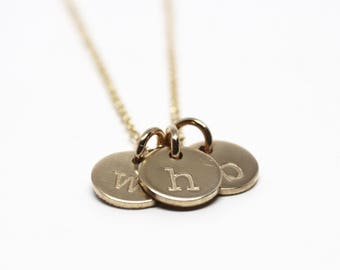 Teeny Tiny Initial Necklace // Gold Filled // lowercase initials