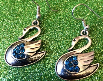 Modern Silver Colour Swan Earrings for Pierced Ears set with blue rhinestones-Gifts for her-Ladies Jewellery-Modern Jewellery-Ladies Gifts