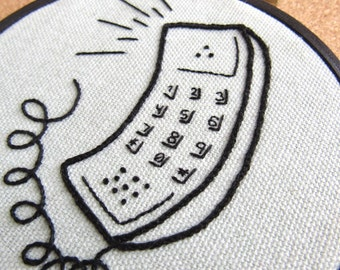 "Embroidery Hoop Art • ""Call Me"" • Embroidered Retro 80s Telephone"
