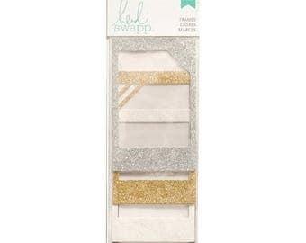 ON SALE Heidi Swapp Metallic Glitter Decorative Cardstock Rectangular Frames Set of 4 for Scrapbooks, Handmade Cards, Wedding Invitations, a