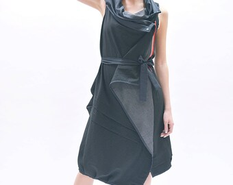 Two faces dress/Loose black dress / Loose grey dress / Two in one dress / Sleeveless asymmetrical dress