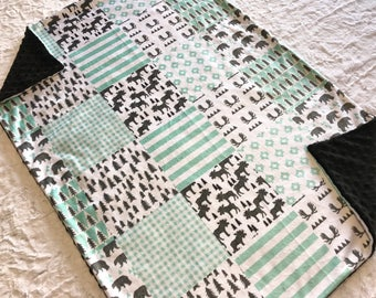 Bear and Moose Baby Boy Blanket, Mint Minky Baby Blanket, Woodland Baby Blanket, Baby Shower Gift, Ready to Ship Blanket